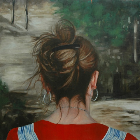 "Untitled (Hike) ,  2006 Encaustic on panel 72"" sq.   public collection, Lynn Home for Young Women, Lynn, MA"