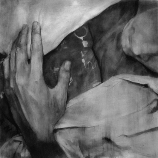 "Untitled (I.H.D.G.) , 2000 Charcoal on paper 60"" sq."