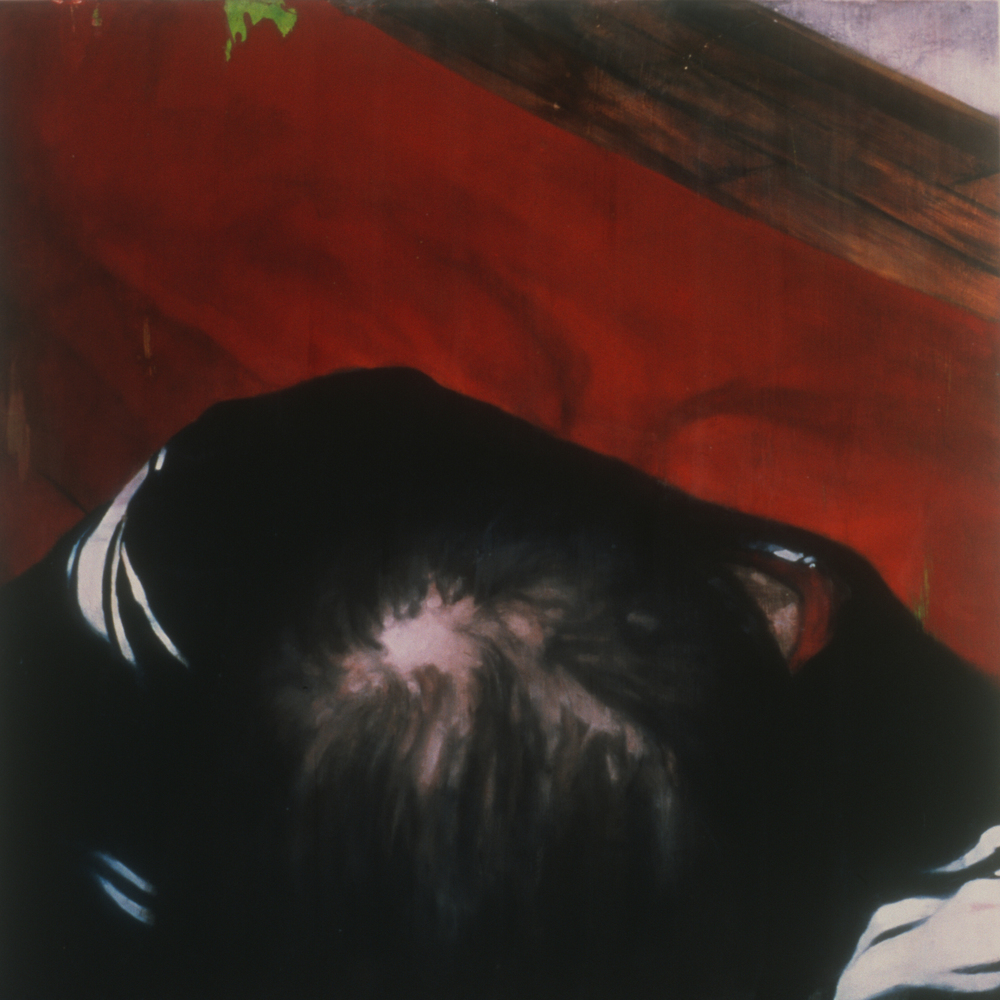 "Untitled (Inheritance),  1998 Encaustic on panel 60"" sq."
