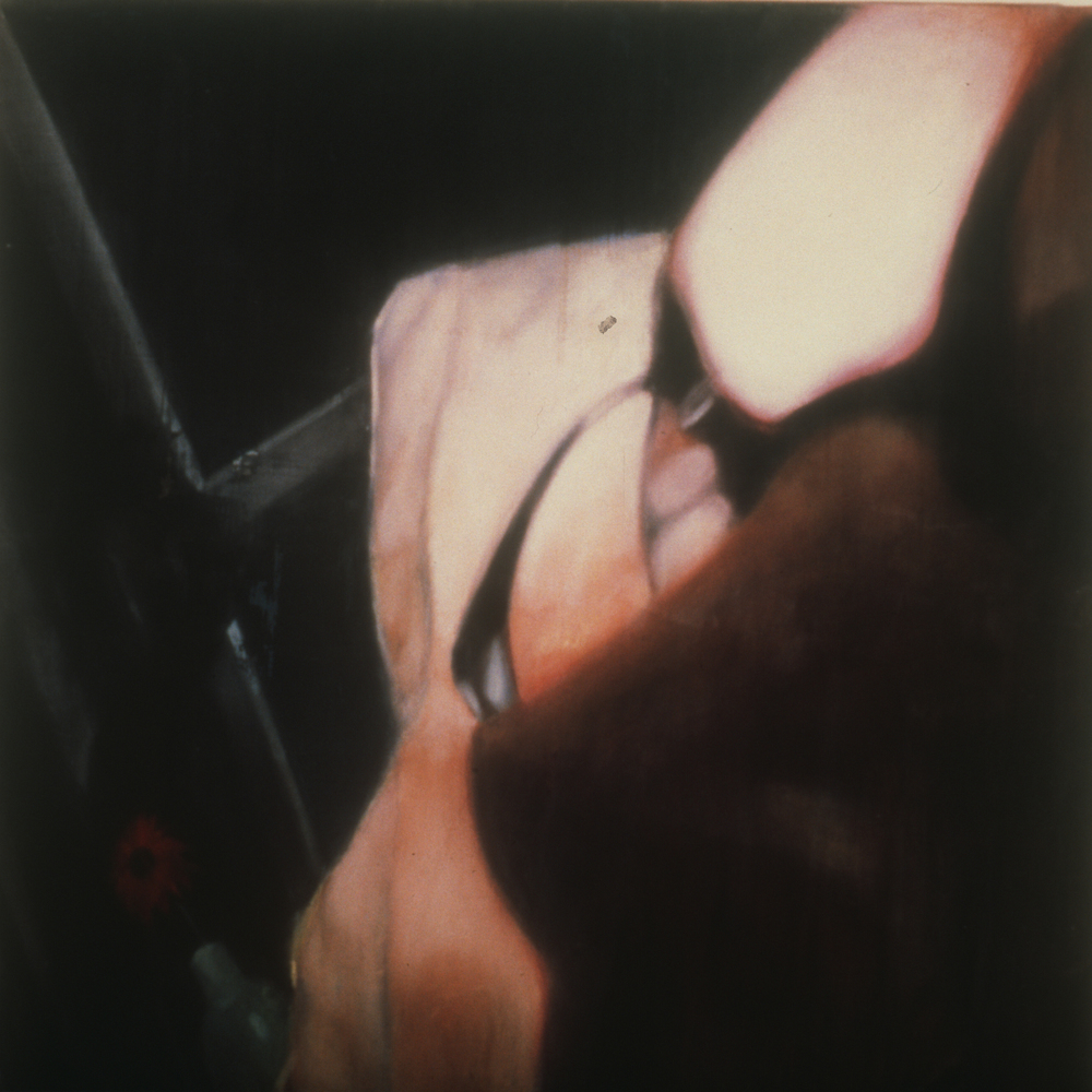 "Untitled (LYLTN) - Diptych, Left Panel,  1997 Encaustic on panel 60"" sq.   private collection"