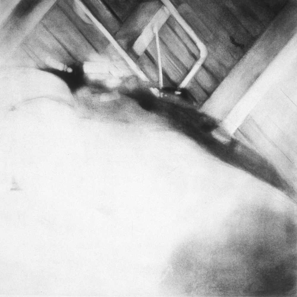 "Untitled (March 1999-2),  1999 Charcoal on paper 36"" sq.   private collection"