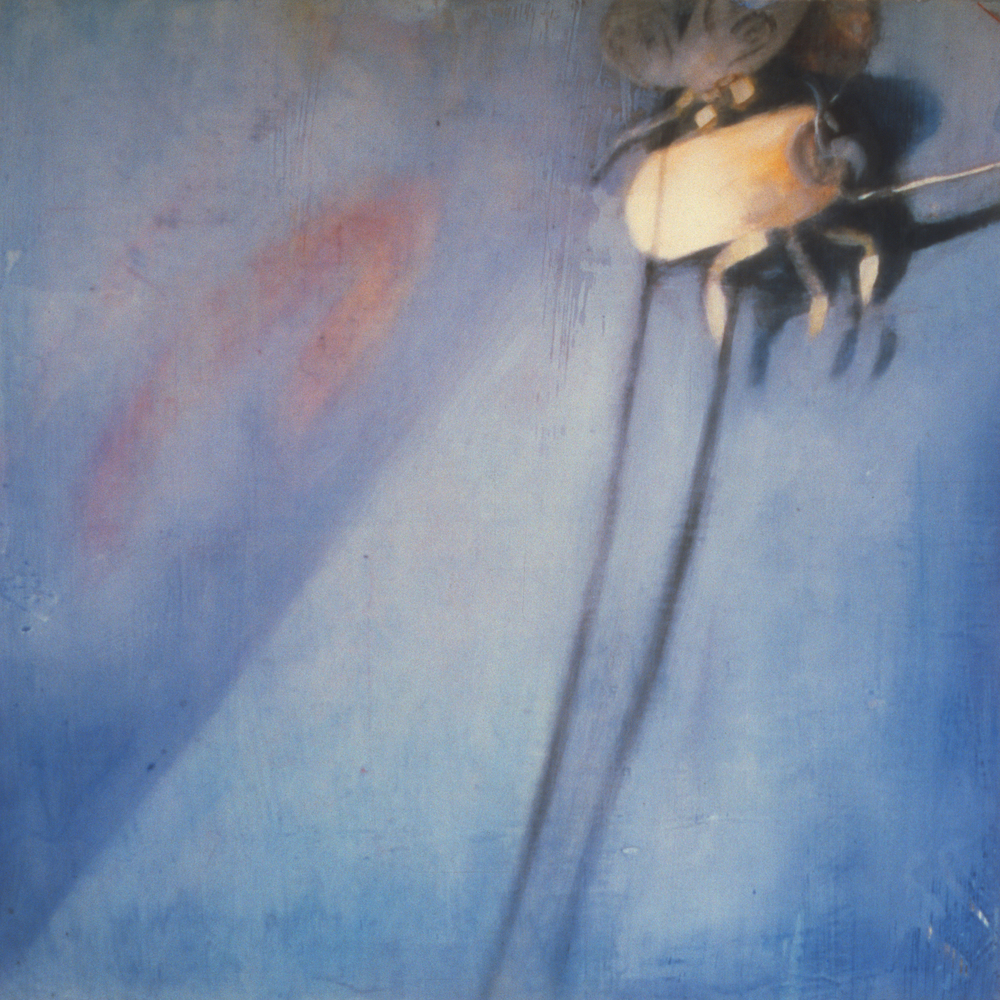 "Untitled (Bedtime) , 2000 Encaustic on panel 21"" sq.   private collection"
