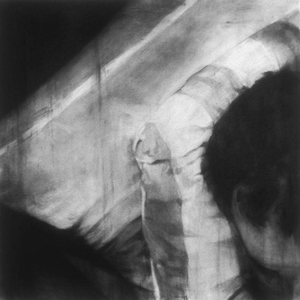 "Untitled (Lost) , 2001 Charcoal on paper 60"" sq."