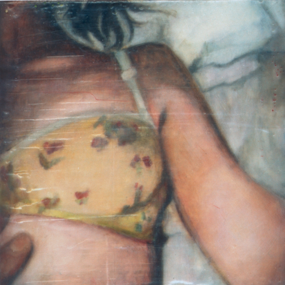 "Untitled (Trying) , 2002 Encaustic on panel 8.5"" sq."