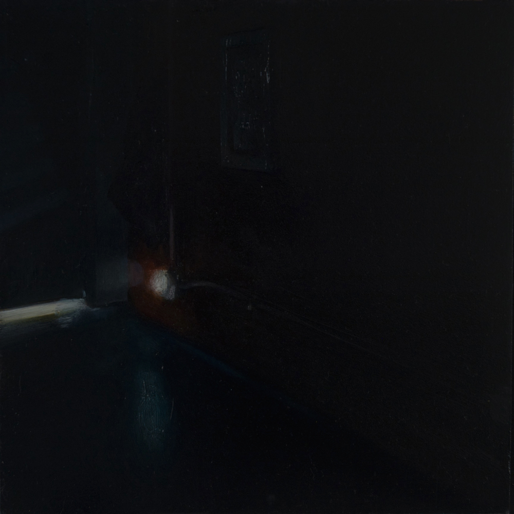 "Untitled (Black Interior) - Study , 2014 Oil on panel 8.5"" sq."