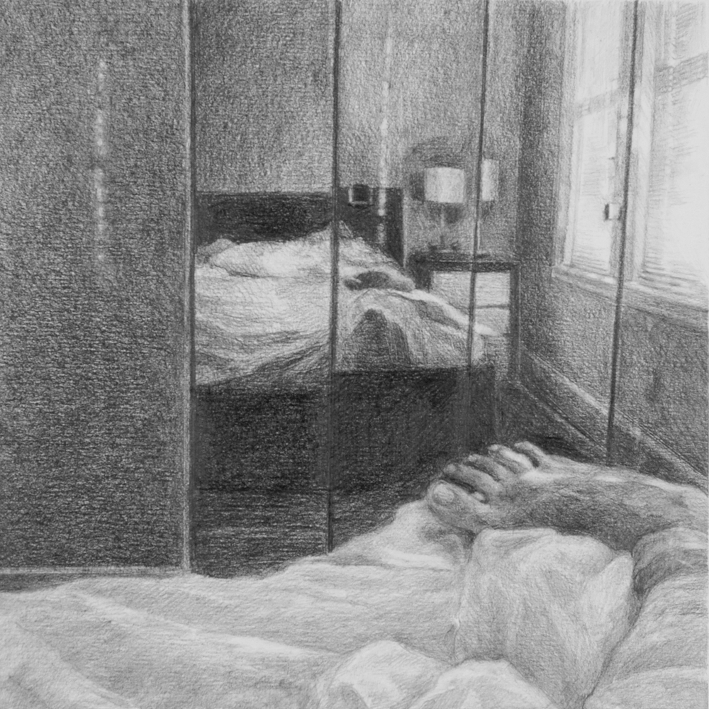 "Untitled (Dissolution: Three)   Graphite on paper 8"" sq."