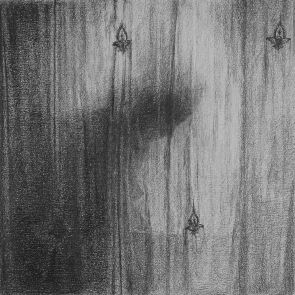 "Untitled (Dissolution: Six)   Graphite on paper 8"" sq."