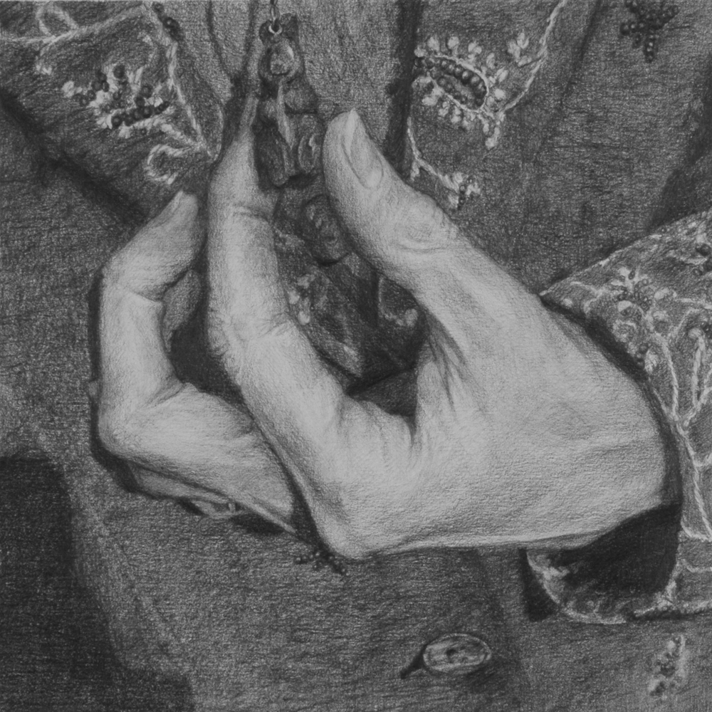 "Untitled (Dissolution: Nine)  Graphite on paper 8"" sq.   private collection;Memphis, TN"