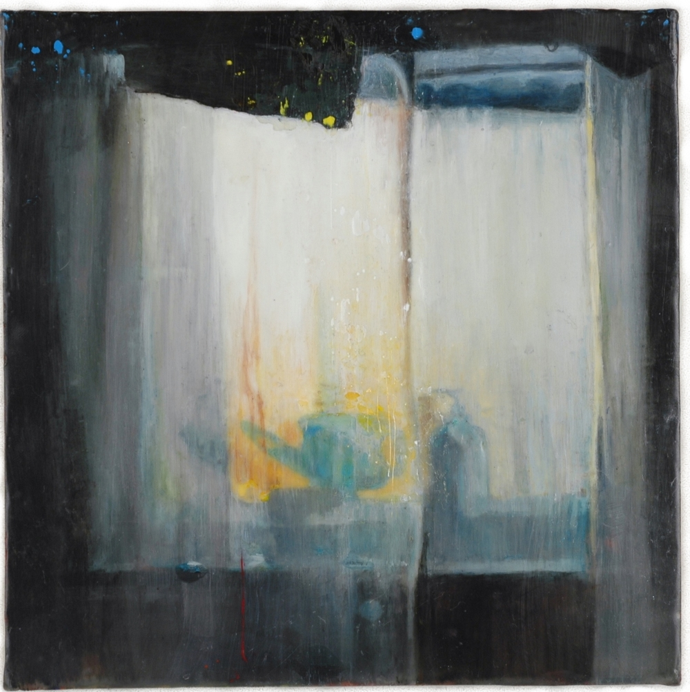 "Untitled (Glimpse)   Encaustic on panel 8"" sq."