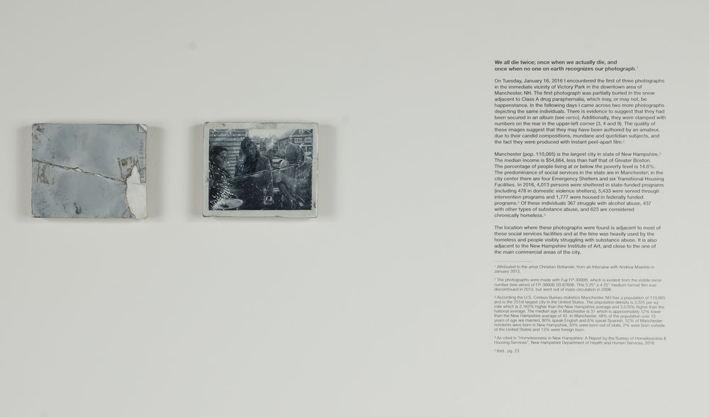 "Untitled (Found in Manchester, NH on 8 January 2016 [4] );  verso and recto Oil on linen on panel (installation view with dry transfer text) Images: 3.25"" x 4.25"" ea., 2017-18"