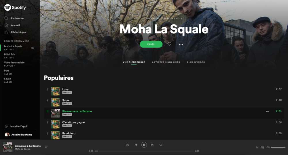 Moha La Squale profile page on Spotify.