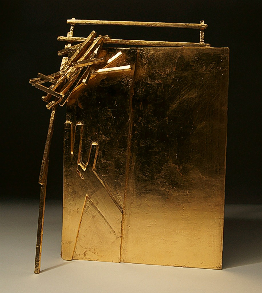 Anthony Wright, Into Drawing, 2012, gilded wood, 10 ½ x 9 x 4 inches