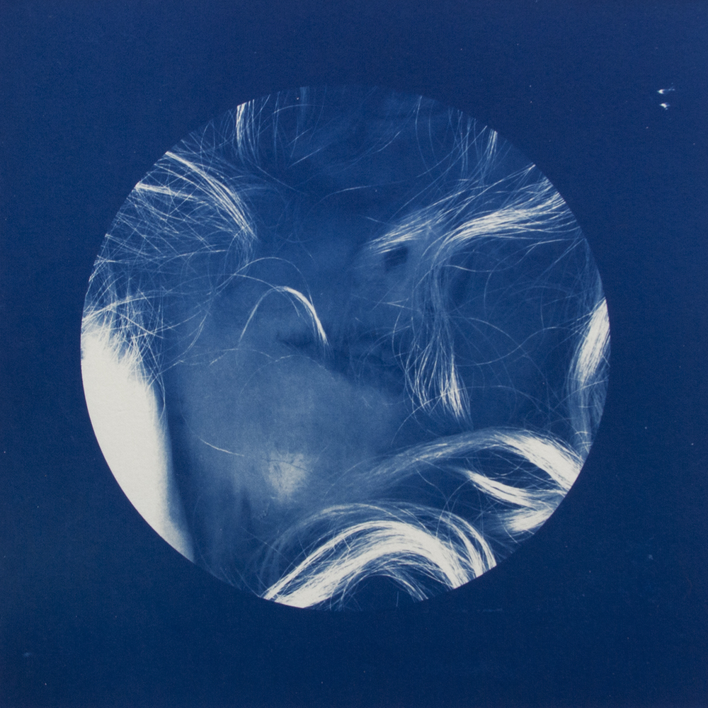 Face #5 , 2015, Hand-coated cyanotype print, 12 x 12 inches