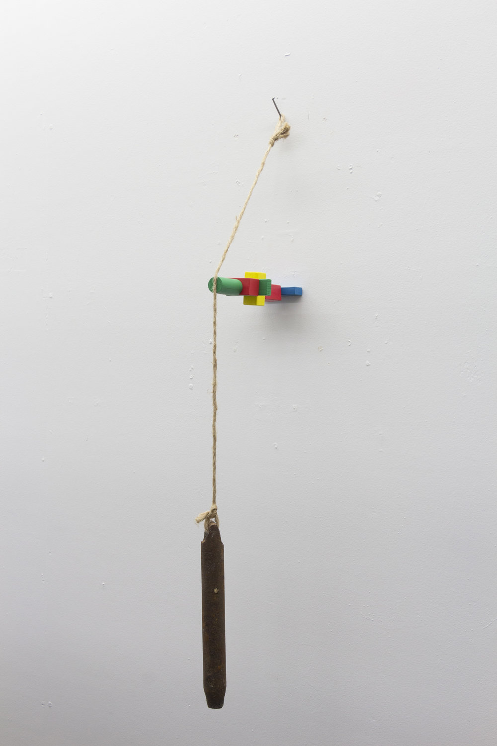 """forced balance"" window weight, toy blocks, rope, nail. 2016"