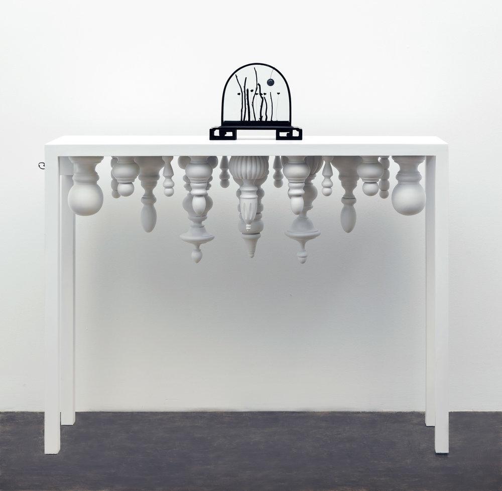 "Secret Ceremony,  46 x 48 x 12"", wood, metal, glass, snowflake obsidian, coral, music box mechanism, 2015"