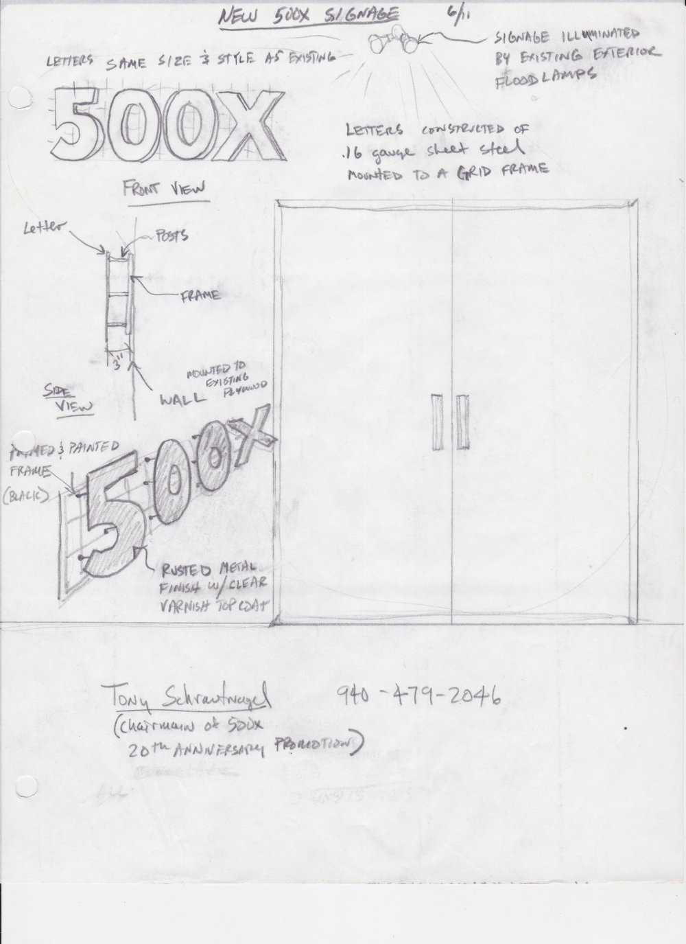 Drawing of the design for the sign Tony made in celebration of the 20th anniversary.