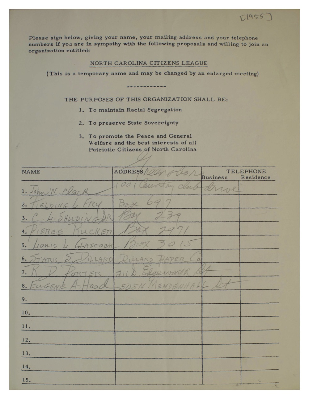 The North Carolina Citizen League's original charter. Image courtesy David Neal.