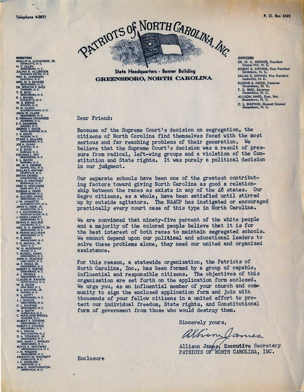 A letter from the Patriots of North Carolina soliciting members. Image courtesy David Neal.