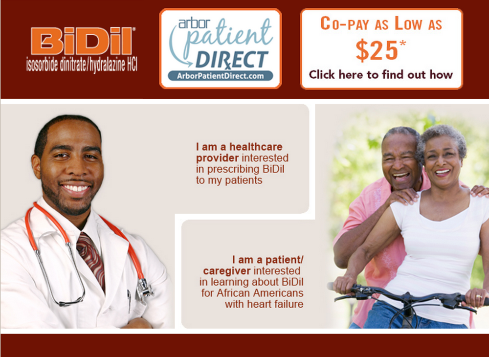 An ad for BiDil, courtesy Ardor Pharmaceuticals.