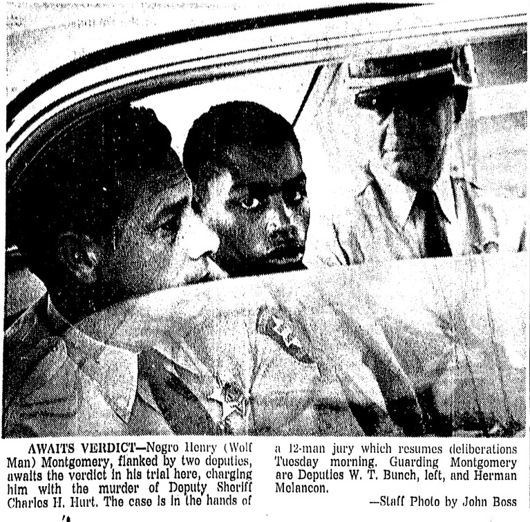 """The Baton Rouge Morning Advocate followed Montgomery's first trial closely. On Feb. 4, 1964, the paper reported the prosecutor's closing arguments. """"He may have an IQ of 84, but he has the cunning of a John Dillinger,"""" District Attorney Sargent Pitcher said of Montgomery. """"He may have the mind of a three-year-old, but he has the cunning of a wolf."""""""