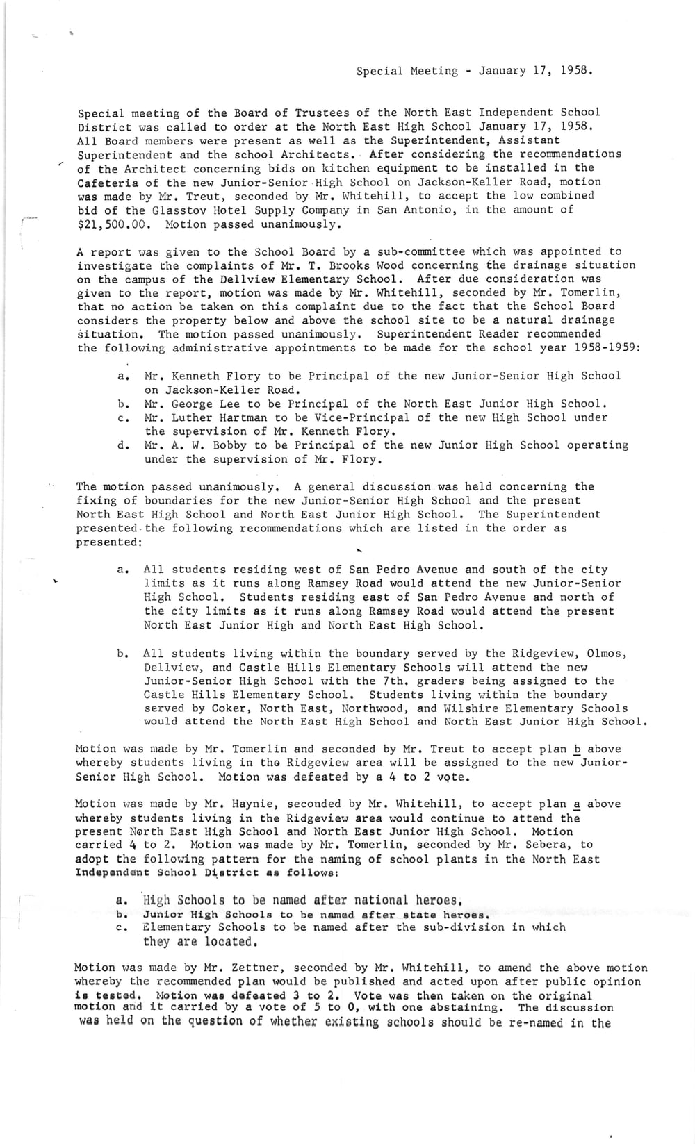 "Memo from 1958 NEISD meeting approving naming high school after ""national heroes."""
