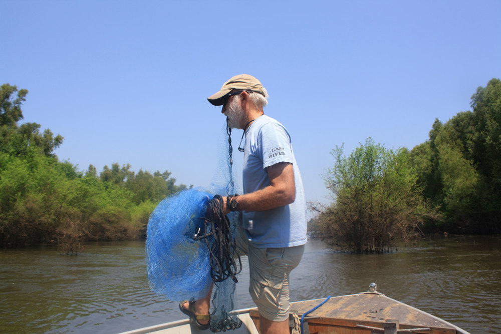Hartfield preparing to cast a net.