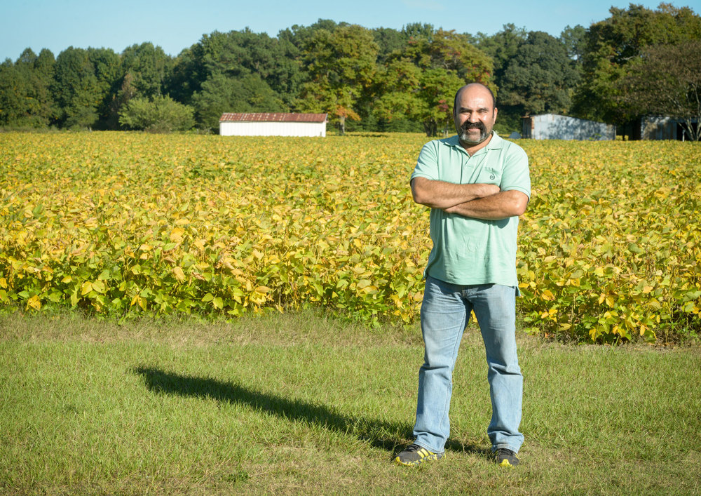 Galván in front of a field in North Carolina. Photos by Kate Medley.