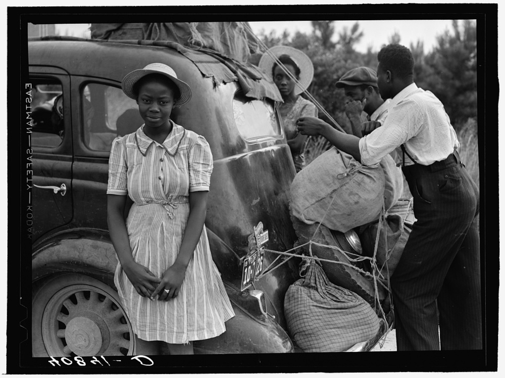 A family of migrant workers on their way to New Jersey, near Shawboro, North Carolina. Photo by John Delano, courtesy Library of Congress.