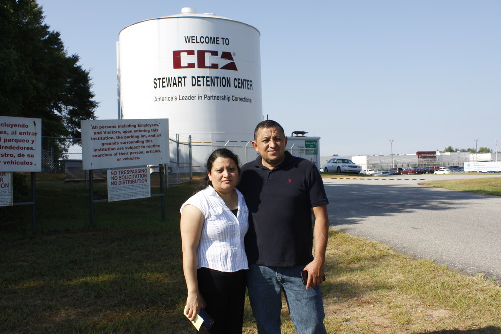 Elsy and Jose Sorto-Hernandez after their son's bond hearing at Stewart Detention Center in Lumpkin, Georgia.