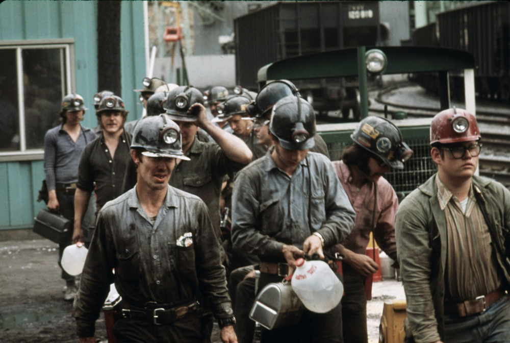 Miners Line Up to Go Into the Elevator Shaft at the Virginia-Pocahontas Coal Company Mine #4 near Richlands, Virginia, in April 1974. Courtesy Jack Corn.