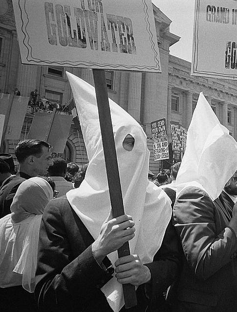 KKK members rally to support Barry Goldwater's presidential campaign at the Republican National Convention in 1964.