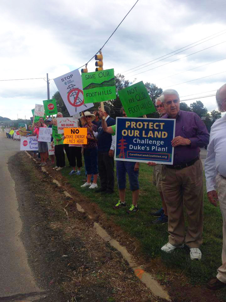 Protesters in western North Carolina rally against Duke Energy's plan to install power lines across private properties. Courtesy NC WARN.