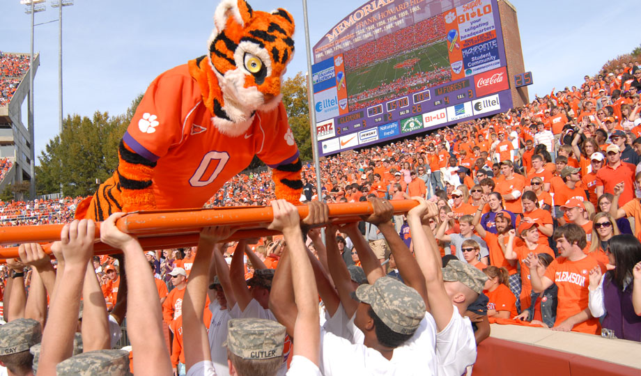 The Clemson tiger does push-ups after a touchdown at a football game. Photo courtesy Clemson University.