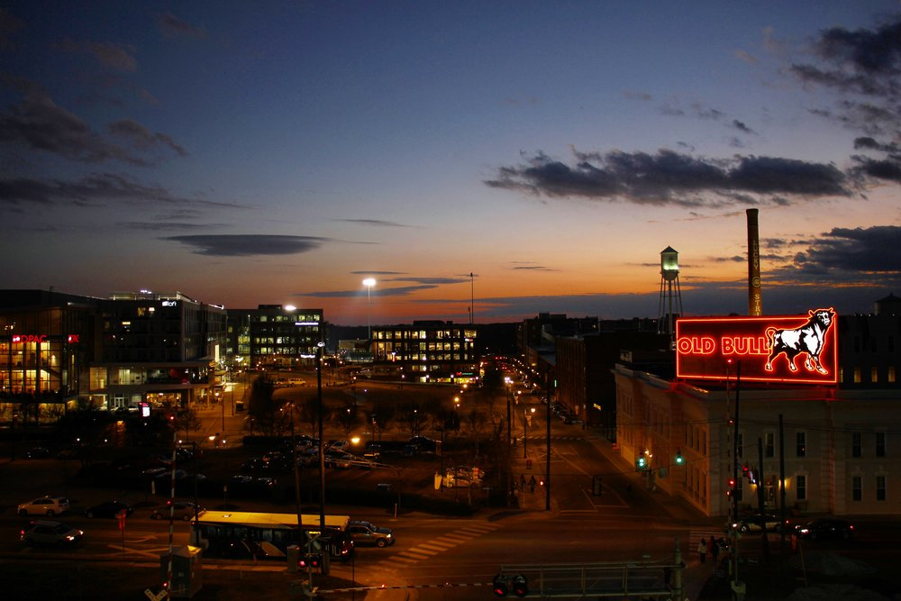 Dusk in downtown Durham. Photo by Justin Laidlaw.