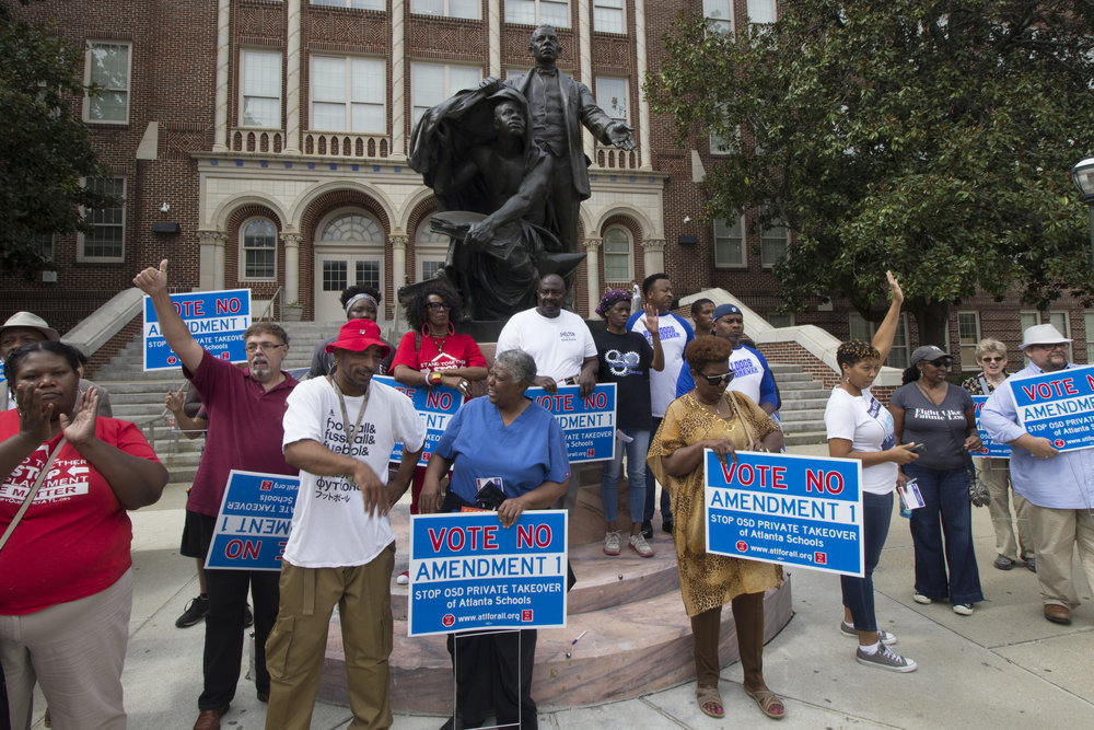 An anti-Amendment One rally at Booker T. Washington High School in Atlanta. Photos by Nik Nerburn.