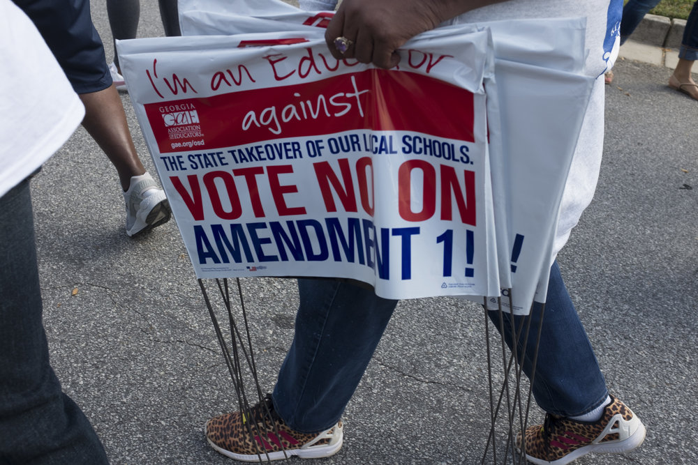 A teacher on her way to an anti-Amendment One rally.