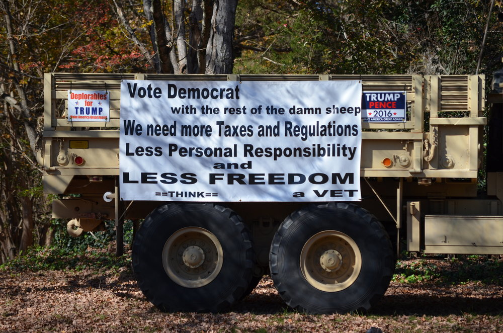 A truck next to a polling place in Pfafftown, North Carolina. Photo by Chad Nance.