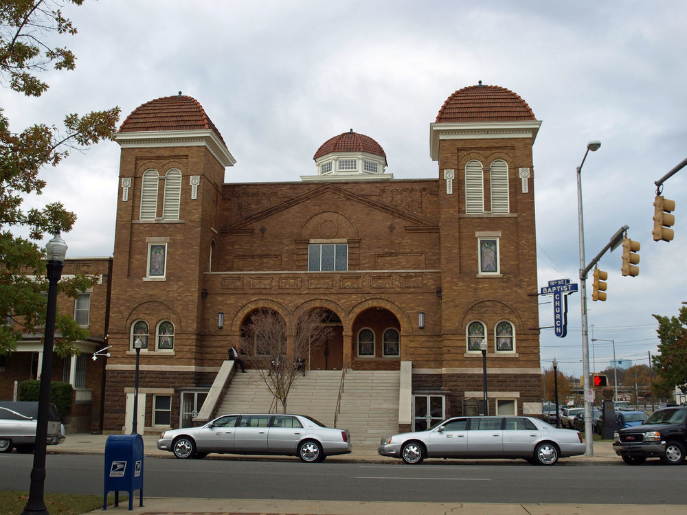 The 16th Street Baptist Church in Birmingham, Alabama. This predominantly Black church was bombed by White terrorists in 1963, killing four young girls (and sparking violence which later led to the deaths of two boys).Image courtesy Chris Pruitt.