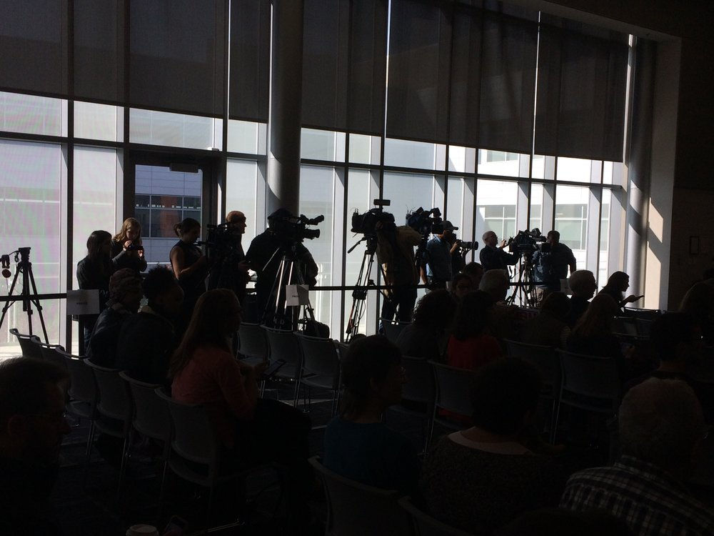 The media line up at the Durham County Board of Elections meeting on Friday, November 18. Photo by Sammy Feldblum.