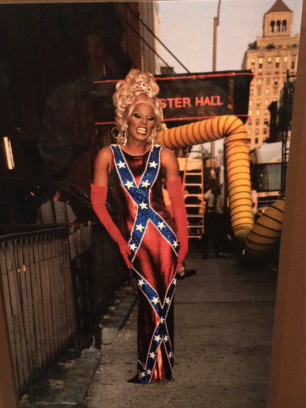 RuPaul in a Confederate Flag dress.