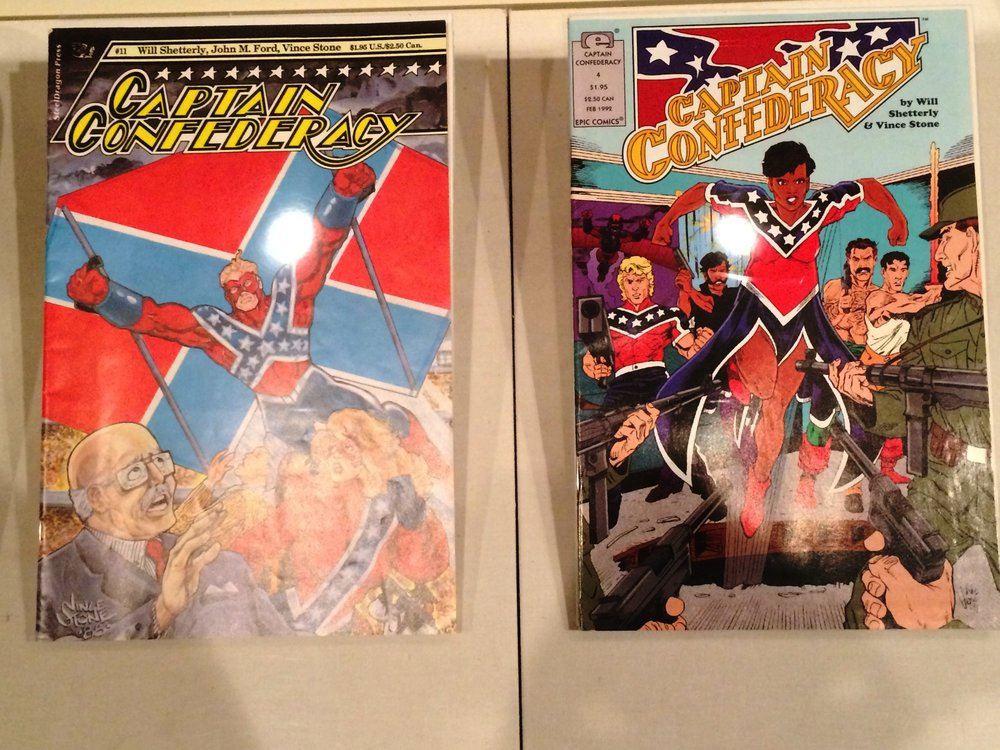 Captain Confederacy  comic books on display at the Museum of the Confederacy.