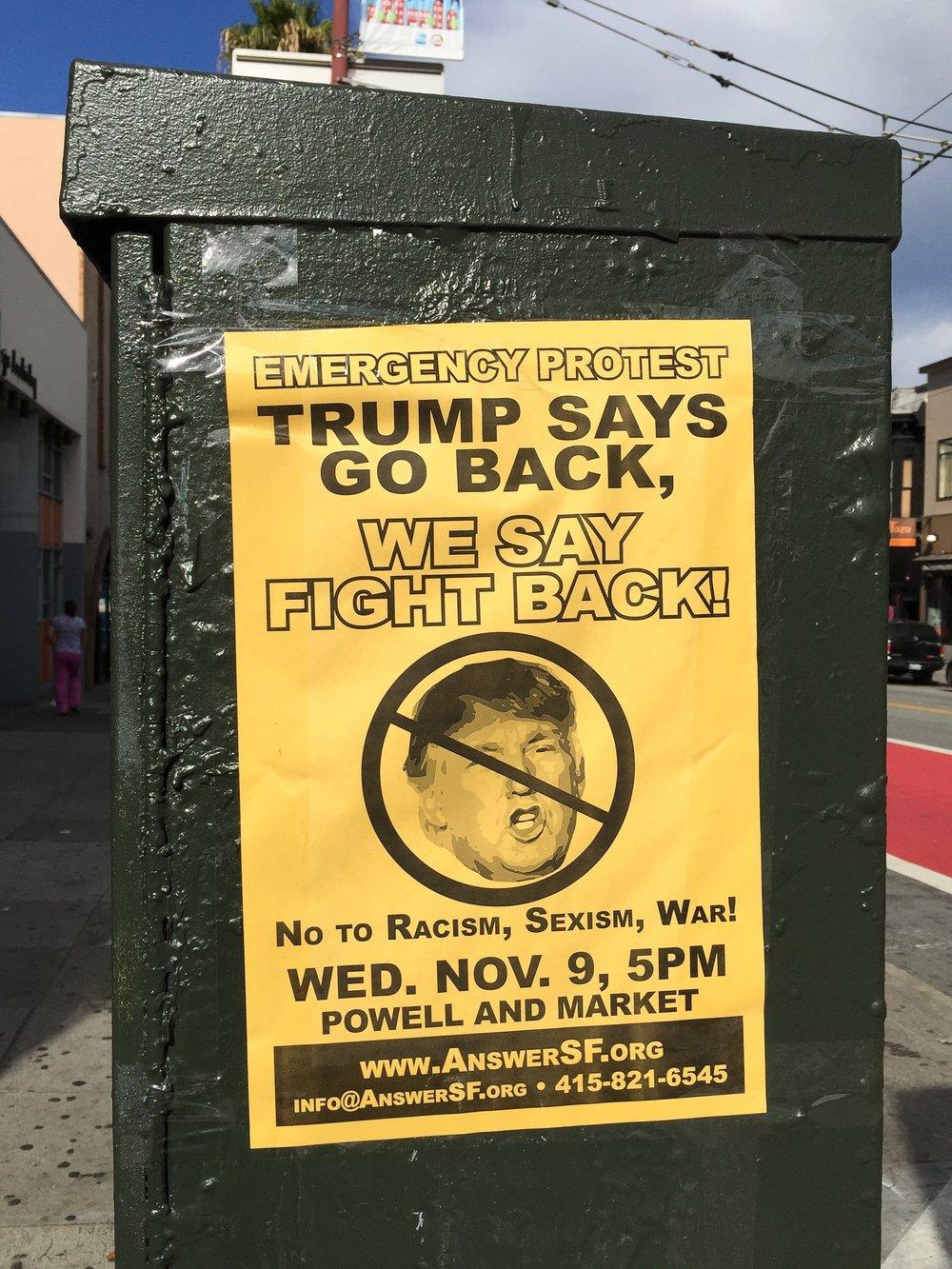 Anti-Trump Protest Announcement, San Francisco (Photo: Frank Schulenburg, Wikipedia)