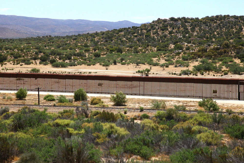 A section of fencing on the border between the United States and Mexico. Image by Bill Morrow.