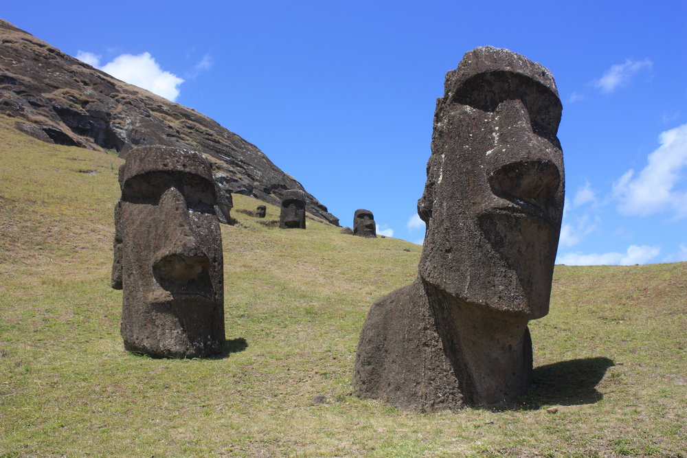 Monolithic heads on Easter Island. Image courtesy Arian Zwegers.
