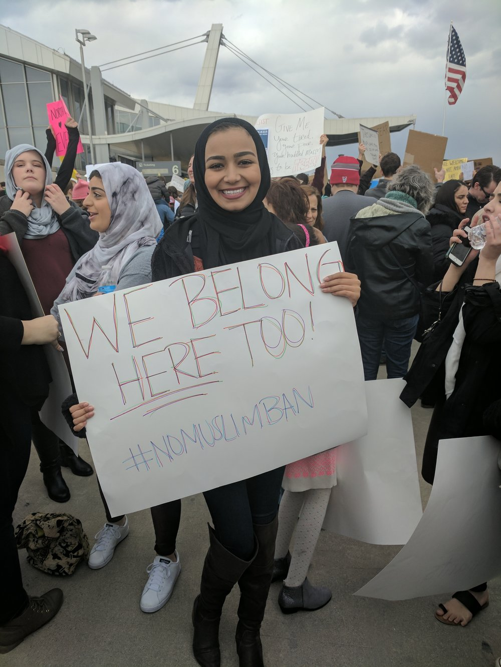 Maryam Mohamed helped lead several chants.