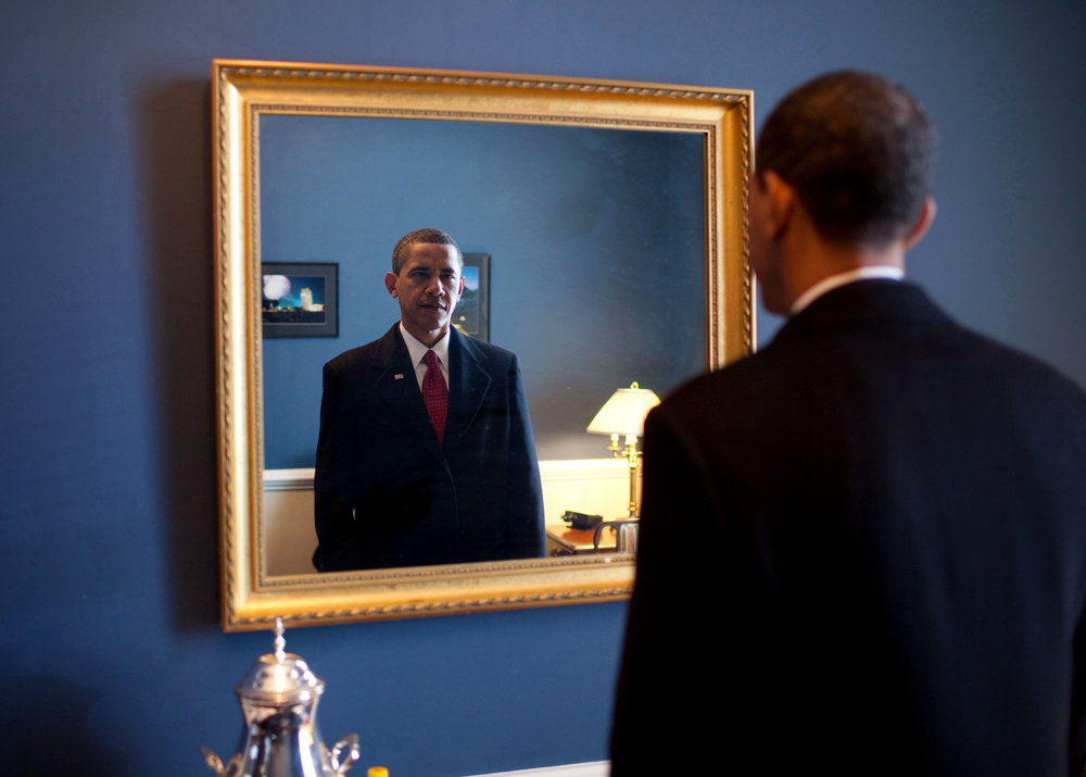President Barack Obama takes one last look in the mirror before walking out to take the oath of office, January 20, 2009. Image courtesy The White House.