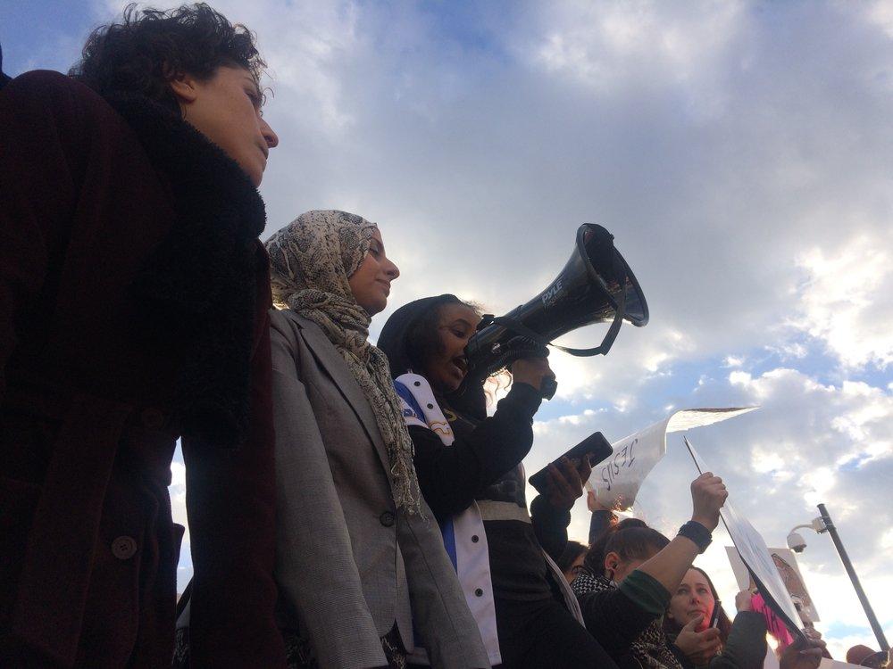 Protesters at Atlanta's Hartsfield-Jackson International airport. Photos courtesy author.