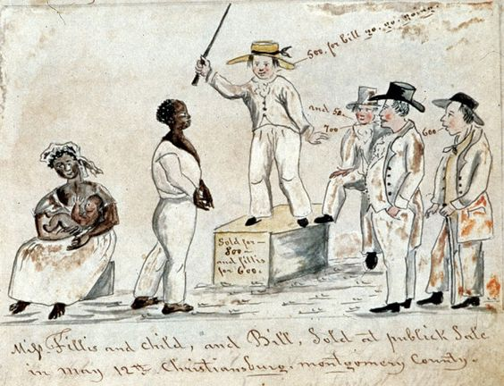 """Slave Auction in Christiansburg, Virginia. From Lewis Miller, Sketchbook of Landscapes in the State of Virginia, 1853-67."""