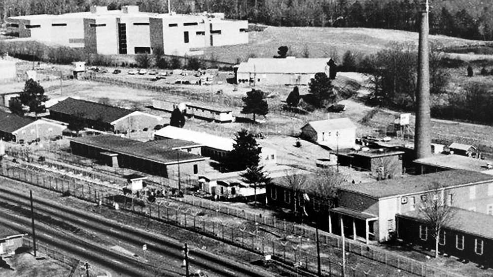An historic image of the site from Blue Ridge Road with youth prison facilities still present(photo credit: UNC Chapel Hill Library Historic Archives Collection)