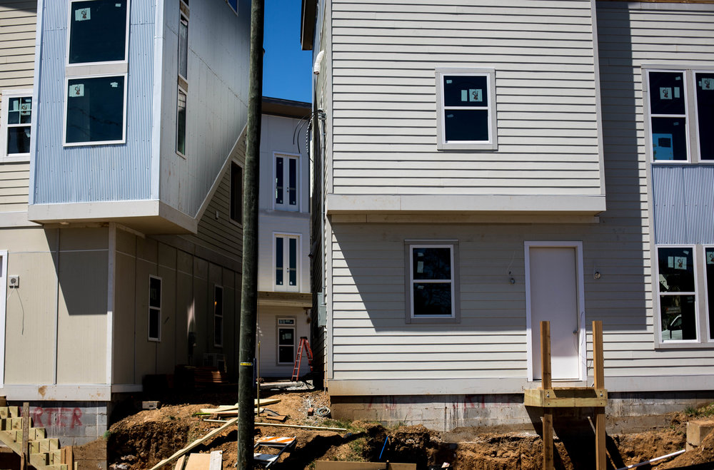 New condos are constructed at the intersection of Eastland Ave and Porter Rd in East Nashville.